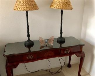 Entry Table / Writing Desk w/claw feet - $95 - (50W  18D  28H)