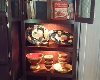 Cookbooks, Paula Deen and various Magazines, Susan Winget Serving Pieces