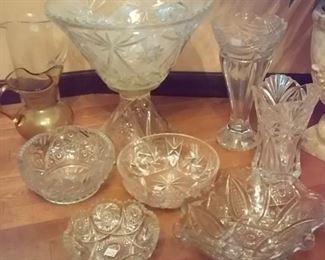 Pressed Glass, Star of David, Vases