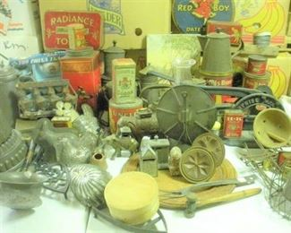 Primitive kitchen and advertising collectors will be in heaven with this sale