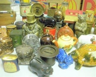 "TRUST ME....This is just a SMALL (very small) SAMPLING of the cast iron, tin, advertising, glass, pottery, wood and folk-art banks...or as the English call them ""Cash Box"""