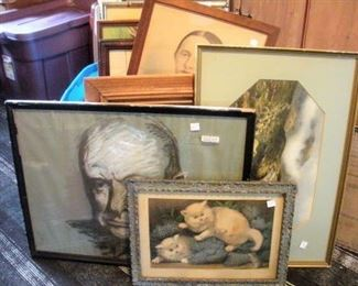 Over 60 pieces of framed art work....oil paintings (canvas & board), litho prints, engravings, watercolor and more spanning the 1800's to mid 1900's....even old paint-by-number pieces.