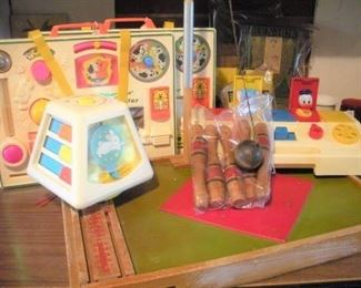 Some of the newest toys...Fisher Price, all clean and good working condition...not sure how these got mixed in with all these wonderful antiques