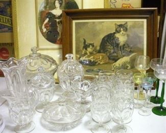 More pattern glass found yesterday...the kittens are keep on eye on it all.