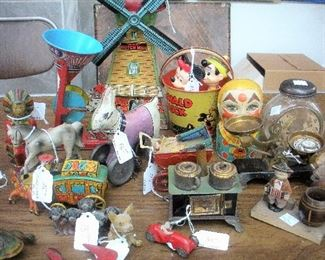 More antique tin toys...mechanical, key wind, friction, pull...lots more toys and banks available.