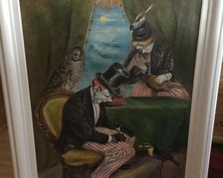 """PEGGY WILLIAMS DODDS, AMERICAN 1900-1987, """"CIRCUS PERFORMERS"""" OIL ON CANVAS, 47""""x34"""", SIGNED AND DATED 1942"""