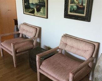 MILO BAUGHMAN STYLE CLUB CHAIRS WITH LARSEN FABRIC