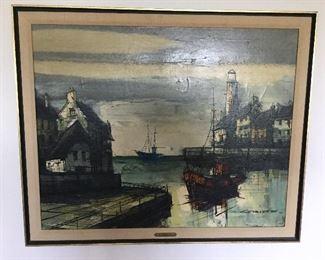 "M. EDWARD GRIFF, AUSTRIAN, 20 th CENTURY, ""HARBOR SCENE"" OIL ON CANVAS, SIGNED"
