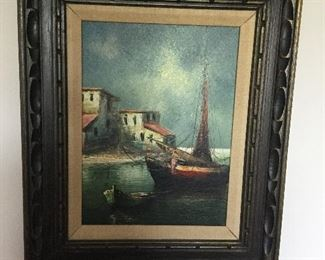 """AMERICAN SCHOOL, 20th CENTURY, """"SAILBOAT OFF SHORE"""" OIL ON CANVAS, SIGNED INDISTINCTLY"""