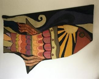 """HELEN WEBBER, AMERICAN 20th CENTURY """"FISH"""" WOVEN TEXTILE, SIGNED"""