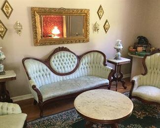 True Victorian Parlor Suite with original horsehair