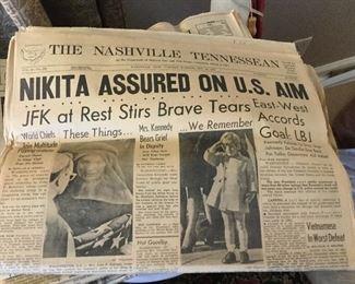 Several vintage newspapers