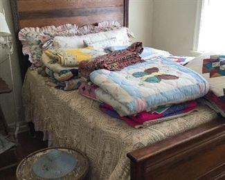 Oak high back bed
