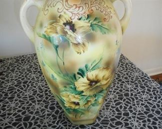 Antique Nippon Hand Painted 17 Inches Double Handle Vase