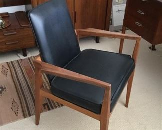 outstanding teak and leather mid century desk chair – $165