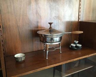 fondue stainless steel mid century – $30