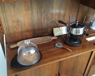 fondue set with fondue forks price $35; acrylic cheese dish – $25