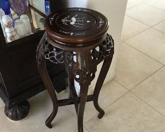 Asian carved rosewood ferns stand with bone insert – $125