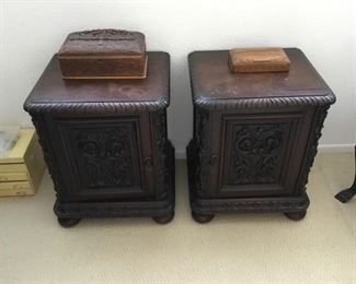 """pair of carved Brazilian walnut lamp tables/end tables– nice – price $145 for the pair - Damage to tops - wood separating Approx size 17"""" x 17"""" x 24"""" tall"""