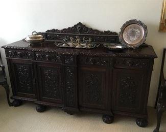 gorgeous heavily carved vintage Brazilian walnut sideboard/buffet– price $350