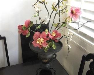 beautiful silk plant and brass Asian urn/pot price  $45
