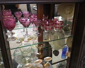 Cased Ruby glass cut glasses $20-$30 each