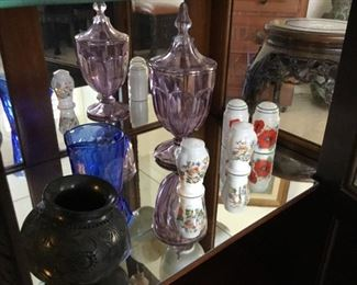 antique purple glass footed jar$45, Ainsley salt-and-pepper $14, Shirley Temple breakfast milk pitcher $18, native American/Mexico territory black pot signed $90