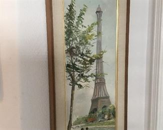 Eiffel Tower oil painting – non-listed artist – $65 larger