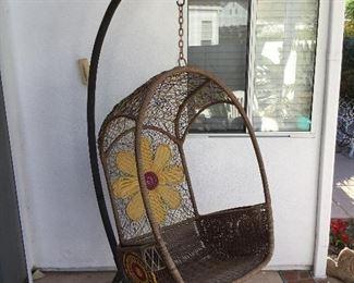 freestanding wicker swinging seat $195