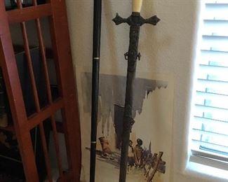 vintage walking stick black ebony wood with brass duck handle – price $65. Vintage Knights Templar dress sword ( damage on bone handle reverse side) price –$95