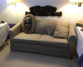 LazyBoy sleeper sofa, nice price – $95; brass native head plaque price $125