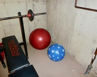 Weight Bench and weights & Bar