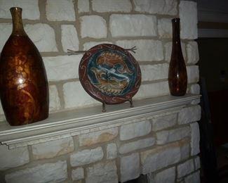 Terra cotta Fish & iron stand