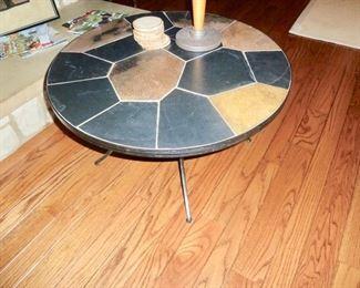 Slate top & iron coffee table