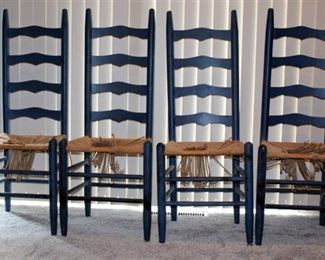 (4) Ladder Back Solid Wood Chairs - Blue
