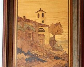 Wood Inlay Art Landscape picture - Made in Italy
