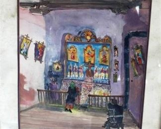 1982 Tom Noble - Lady in a Mexican Nicho Shop - signed