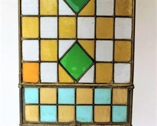 Stained Glass and Brass Fire Screen
