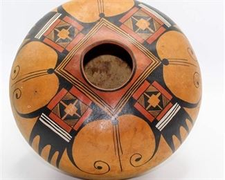 "Robert Rivera ""Hopi Eagle Design"" Gourd Art - Signed"