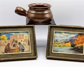 F. MacDonald (2) small Paintings - signed and Baxter small pottery vessel