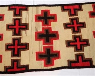 Native American Rug or Blanket. Red, Black, Brown Cross design