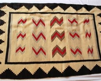 Native American Rug or Blanket.  Black border with red and gray design.
