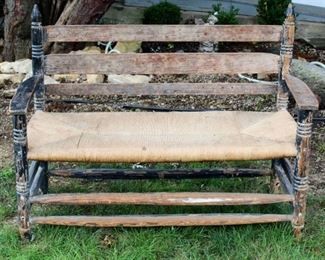 Vintage Wood Bench with handtied woven seat