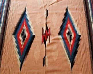 Native American Rug or Blanket - Tan with red, blue, black diamond design