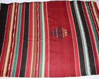 Native American Rug or Blanket - Red, black, blue, tan striped with diamond design in center