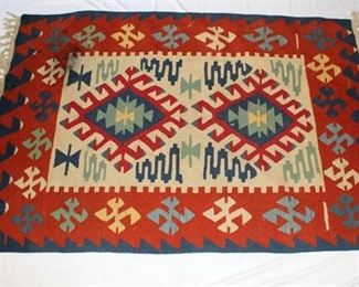 Native American Rug - rust and blue colored