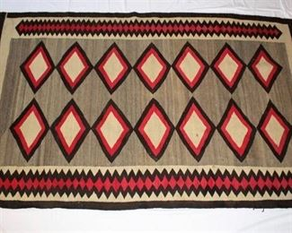 Native American Rug - gray, red, black diamond pattern