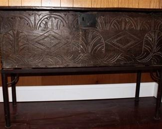 Antique Carved Wood Chest on Metal Stand