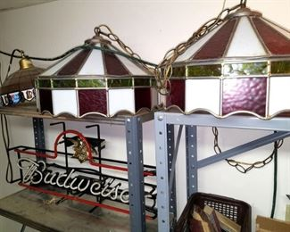 Pair of large slag glass light fixtures. Budweiser neon light