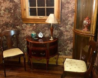 2 modern empire cherry side chairs, French style half round table.  Vintage display case.